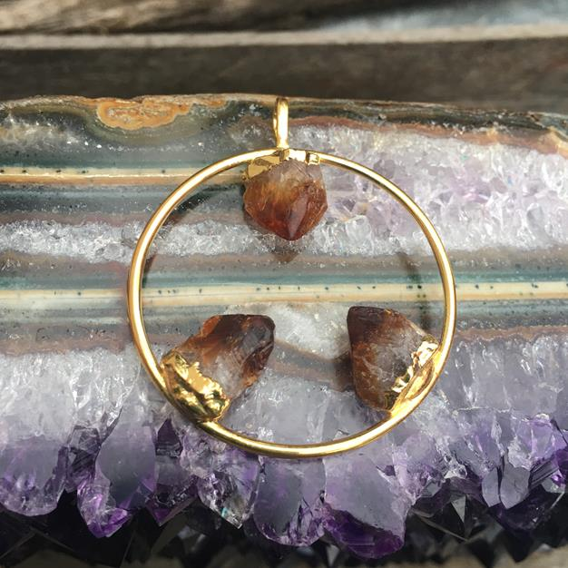 Stones from Uruguay - Triple Citrine Point Hoop Pendant