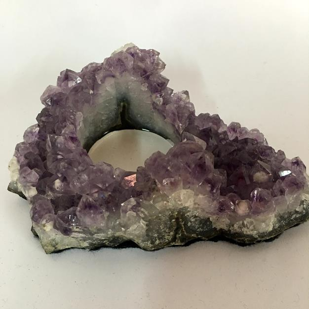 Stones from Uruguay - Amethyst Cluster Candle Holder