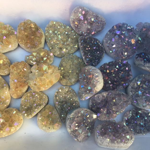Stones from Uruguay - Angel Aura Citrine Druzy Free Form with Angel Aura Amethyst Druzy Free Form