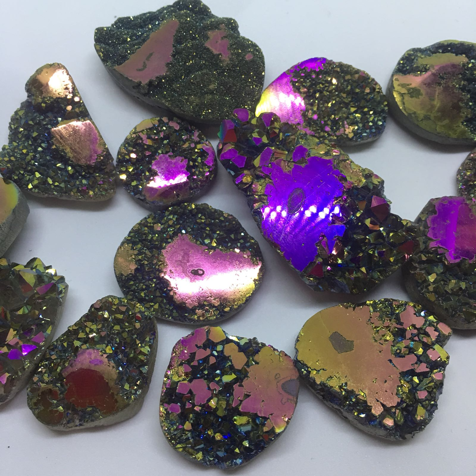 Stones from Uruguay - Rainbow Aura Coated Agate Druzy Free Form with Polished Eyes