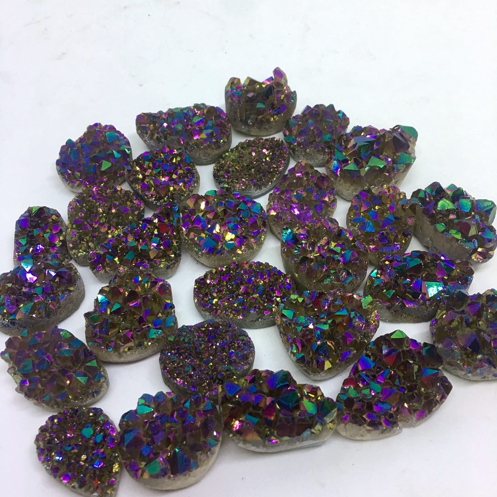 Stones from Uruguay - Rainbow Aura Coated Amethyts Druzy Free Form for Jewelry Making