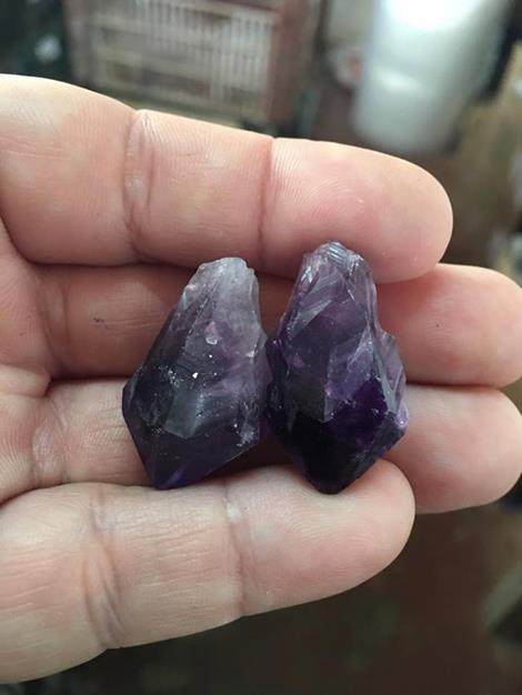 Stones from Uruguay - Uruguayan Amethyst Point Pairs for Jewelry Making