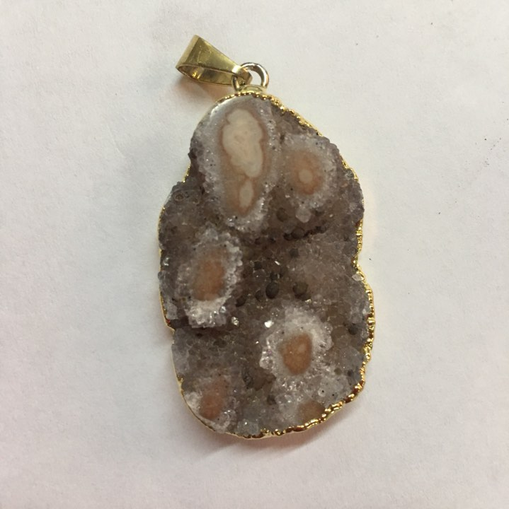Stones from Uruguay - Druzy Free Form Pendant with Polished Eyes, Gold Plated, 36-50mm