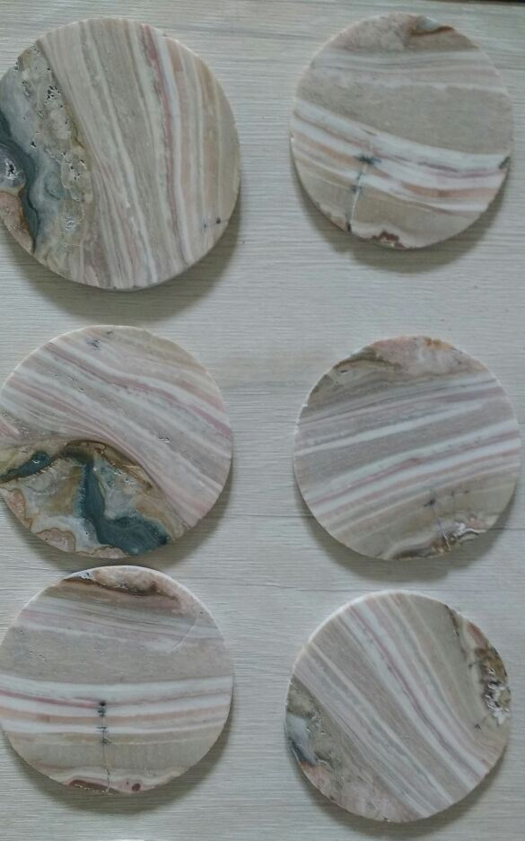 Stones from Uruguay - Cream Jasper Drink Coasters with 6 Pieces