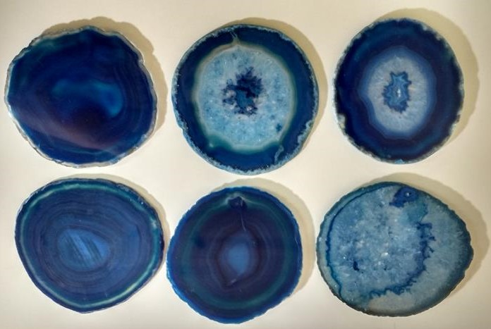 Stones from Uruguay - Blue Agate Slice Coasters with Sets of 6