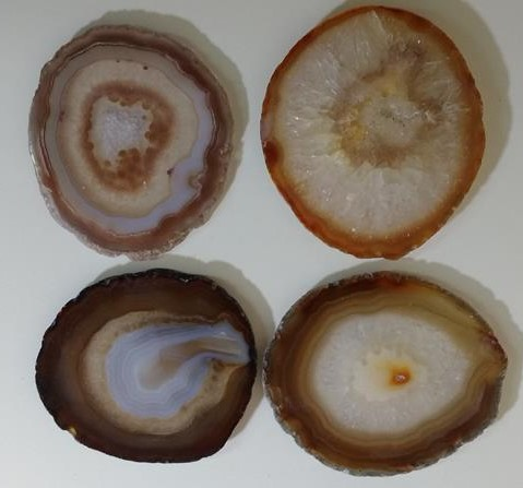 Stones from Uruguay - Natural Agate Slab Drink Coasters with Set of Four