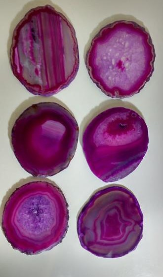 Stones from Uruguay - Pink Agate Coaster  with Sets of 6, #3