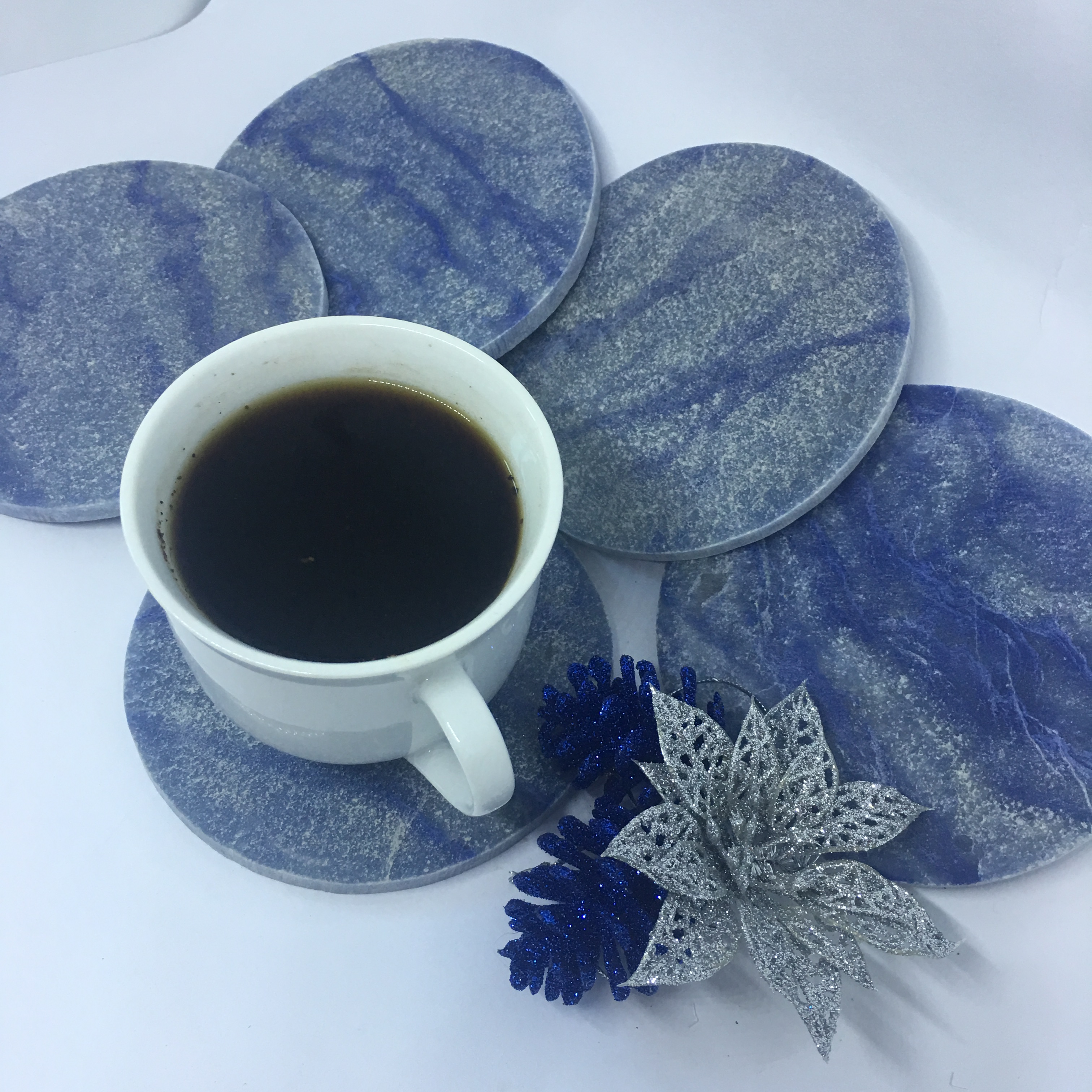 Stones from Uruguay - Blue Quartz  Coasters  for Bohemian Decor and Bridal Party Gifts
