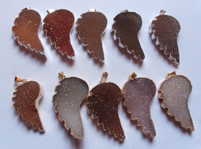 Stones from Uruguay -  Druzy Wing  Pendants