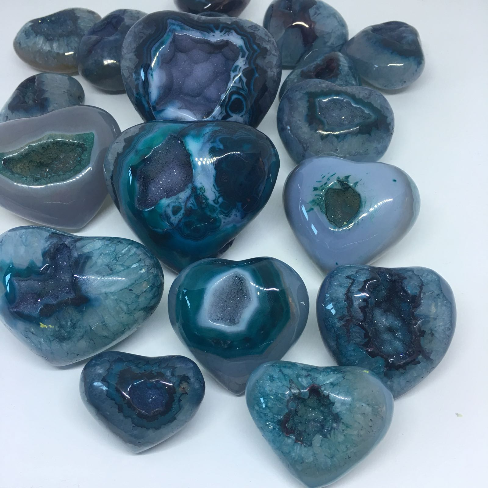 Stones from Uruguay - Teal Dyed Agate Geode Druzy Hearts for Home and Office