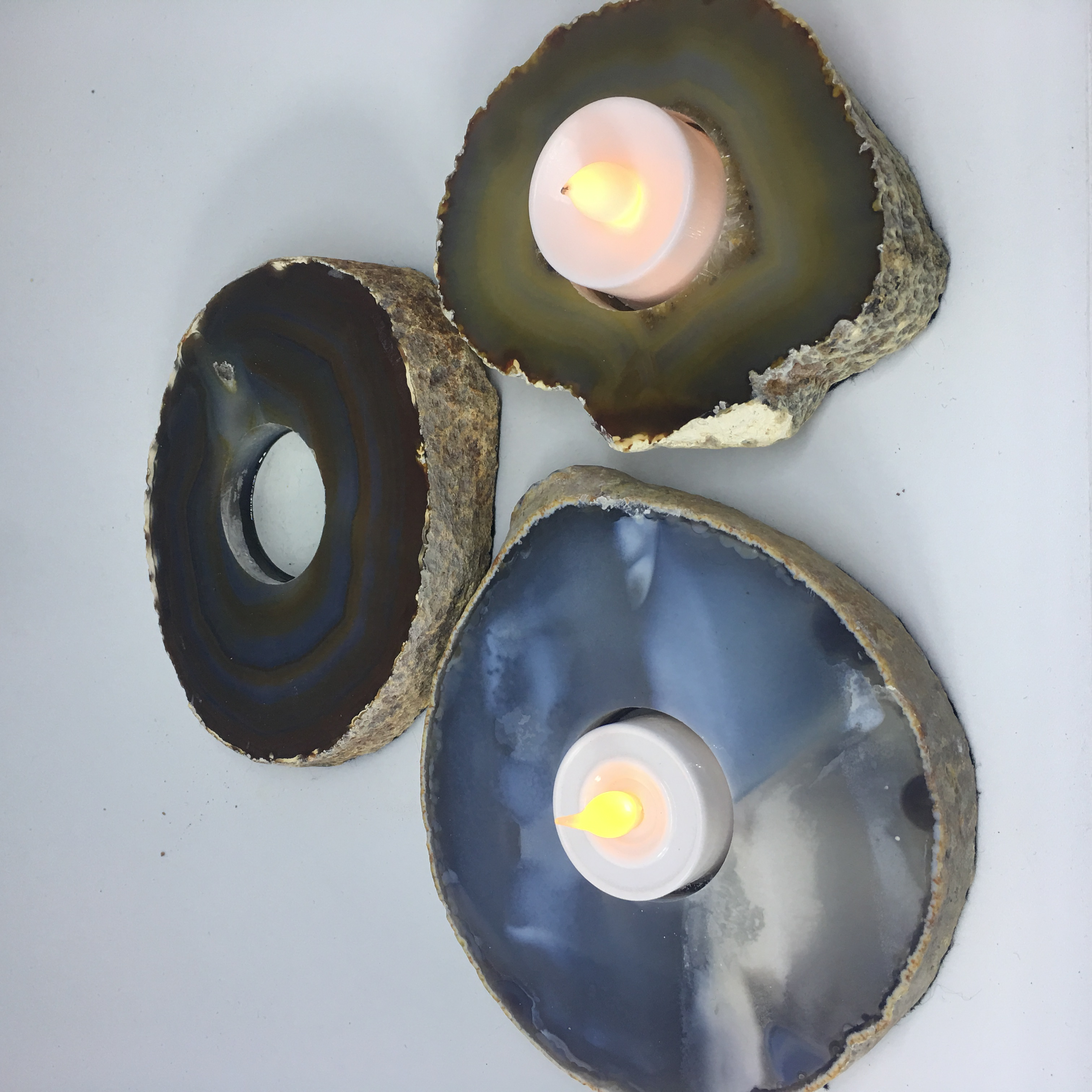 Stones from Uruguay - Natural Agate End Candle Holder