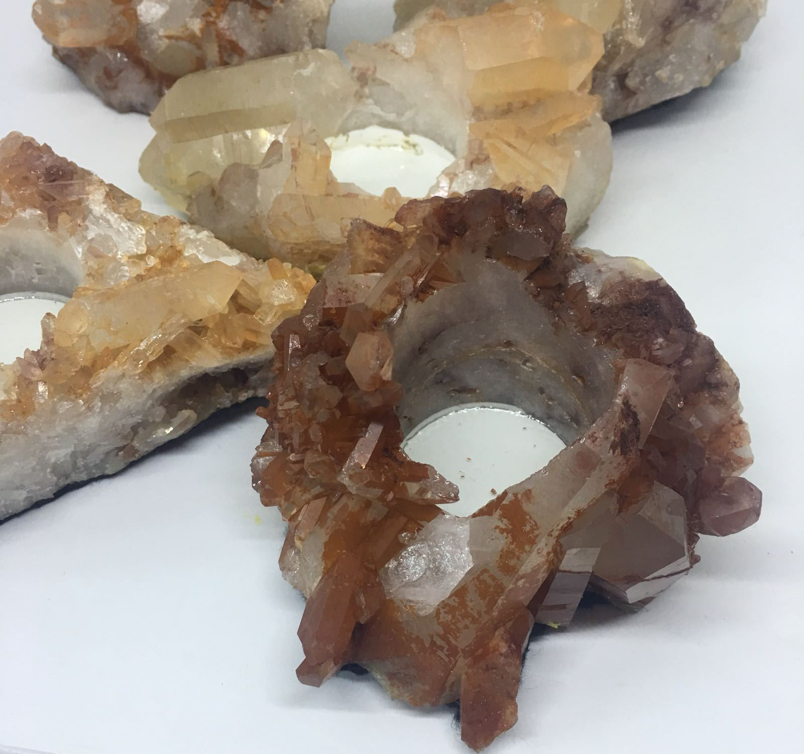 Stones from Uruguay - Tangerine Raw Quartz  Crystal Cluster Candle Holder
