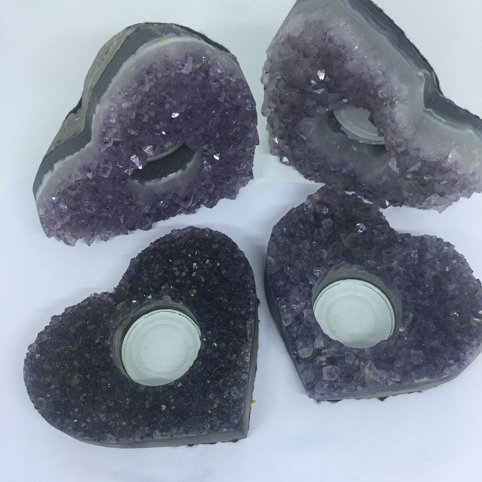 Stones from Uruguay - Amethyst Druzy Heart Candle Holder Tealight