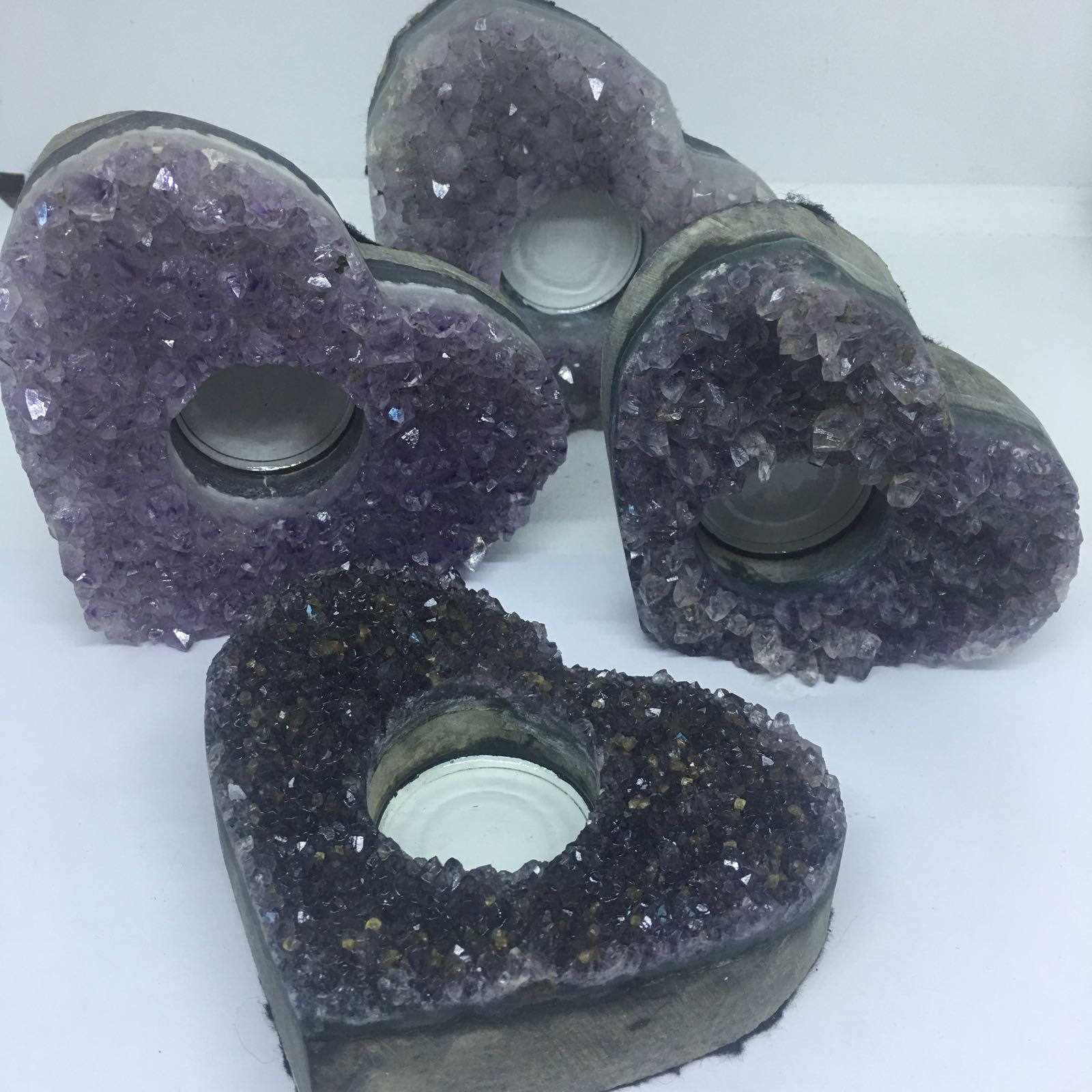 Stones from Uruguay - RAW UNPOLISHED LIGHT PURPLE AMETHYST DRUZY  HEART CANDLE HOLDER  TEALIGHT