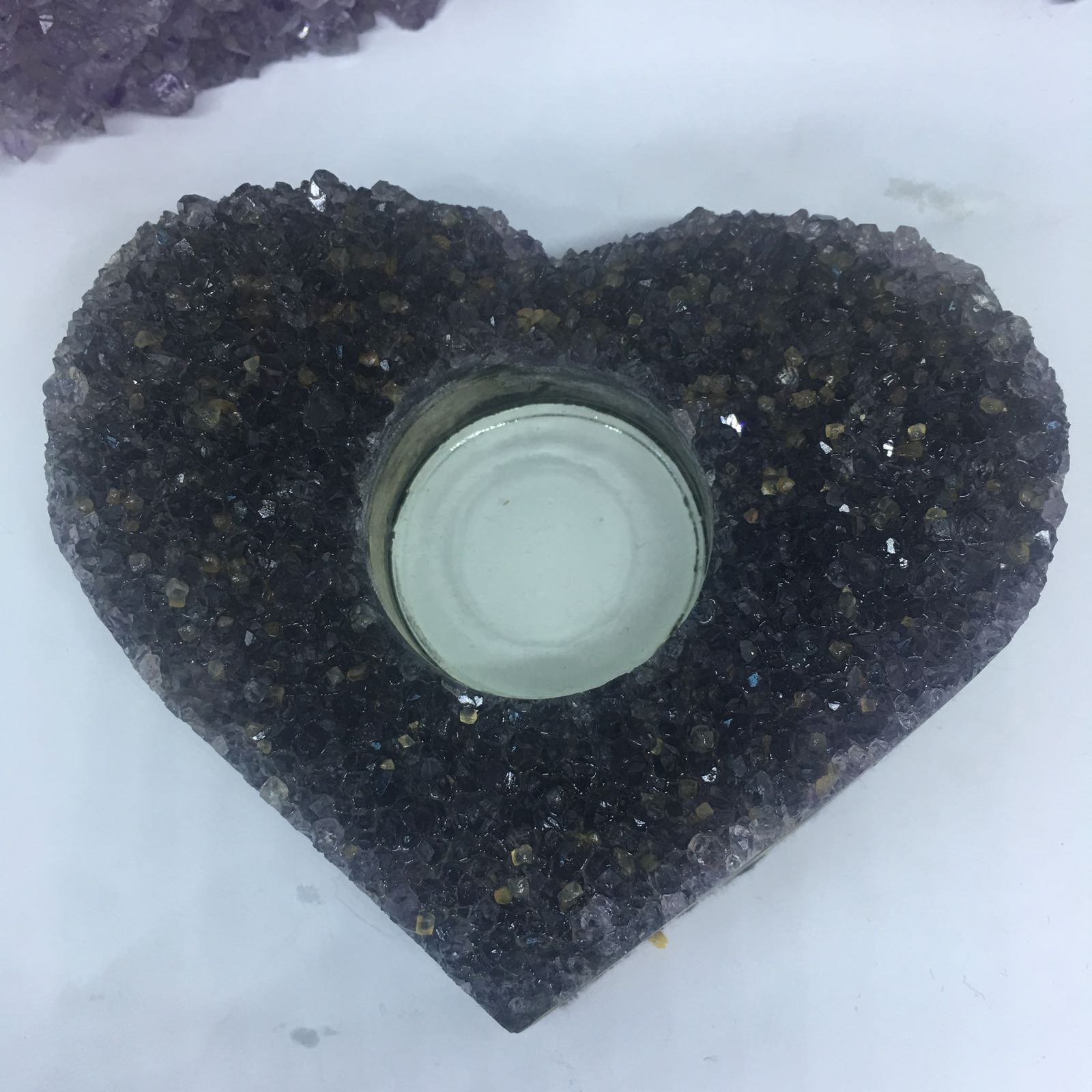 Stones from Uruguay - Amethyst  Heart Tealight Candle Holder, Purple Raw Handmade  Amethyst Druzy Crystal Cluster Heart