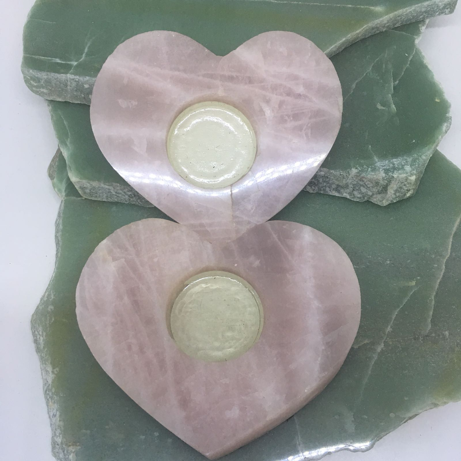 Stones from Uruguay - Rose Quartz  Heart Candle Holder Tealight