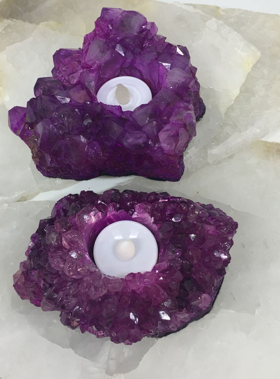 Stones from Uruguay - Pink Dyed Amethyst Druzy Cluster Candle Holder  Tealight