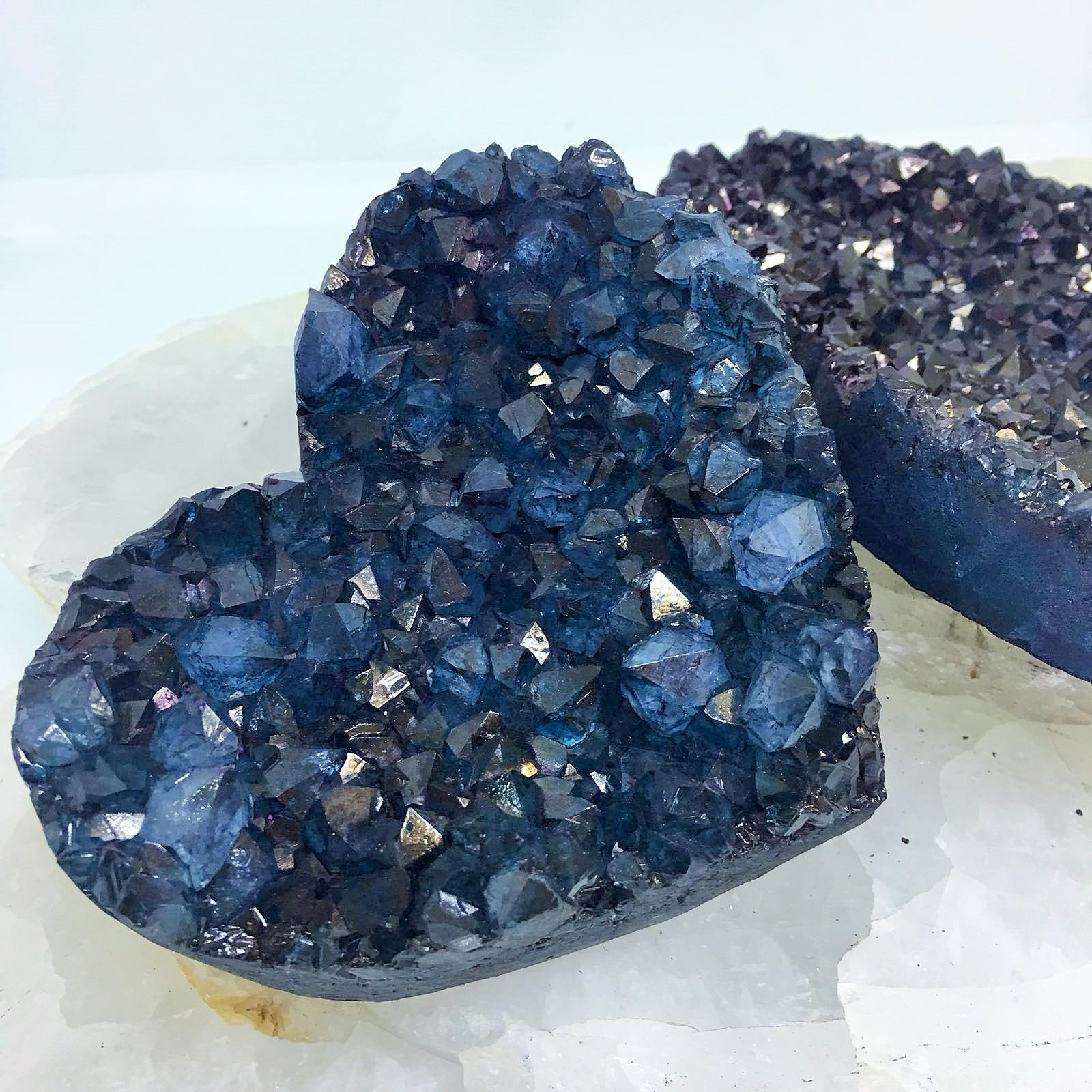 Stones from Uruguay - Teal Dyed   Crystal Druzy Heart for Gift or Decoration
