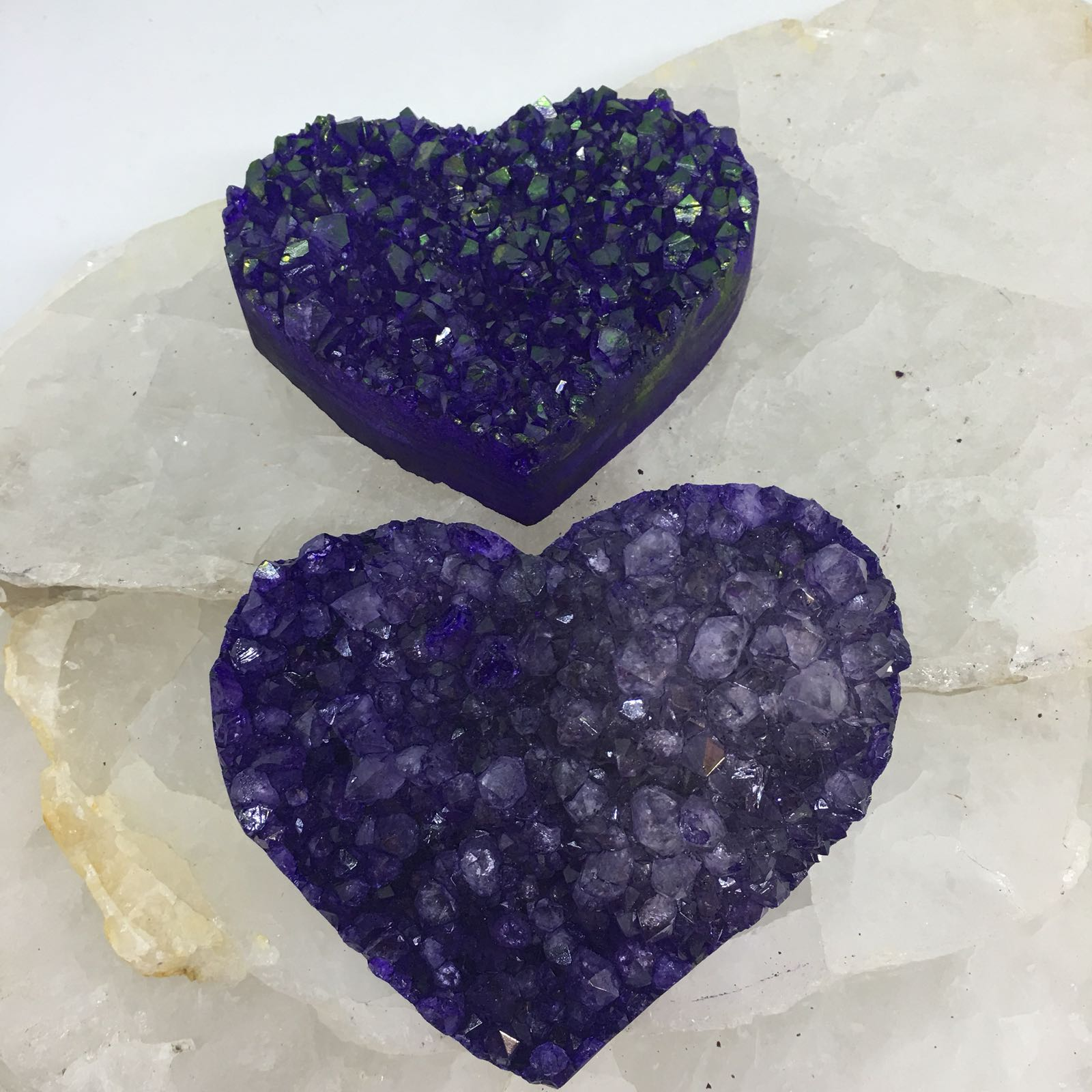 Stones from Uruguay - Purple Colored Amethyts Druse Hearts