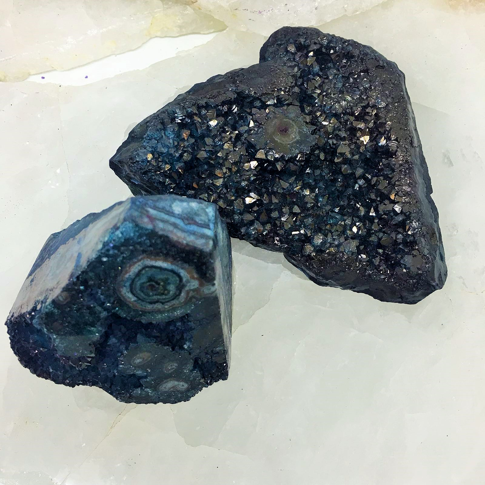 Stones from Uruguay - Teal Dyed Druzy Cluster with Polished  Eye