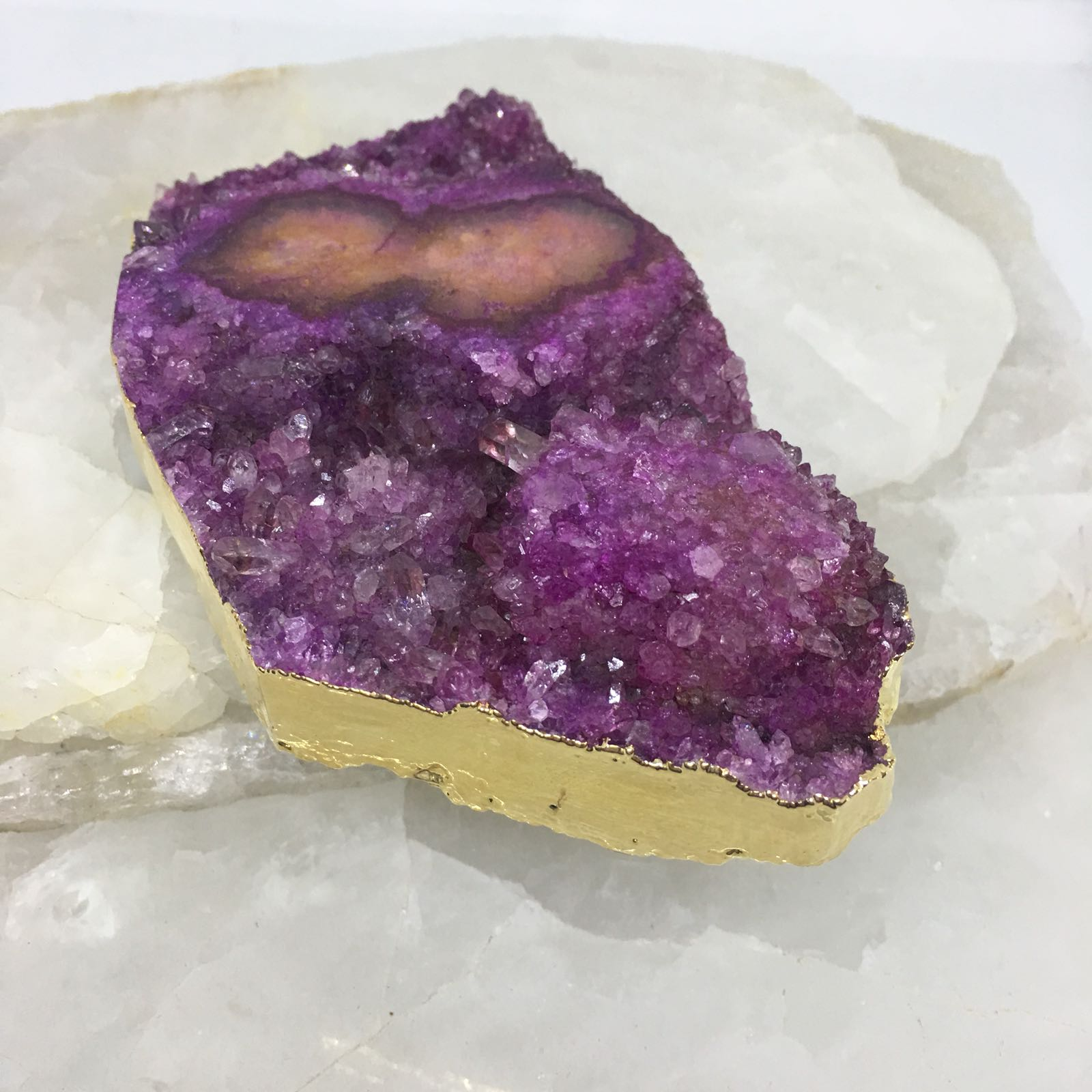 Stones from Uruguay - Gold Plated Pink Amethyst Stalactite Eye