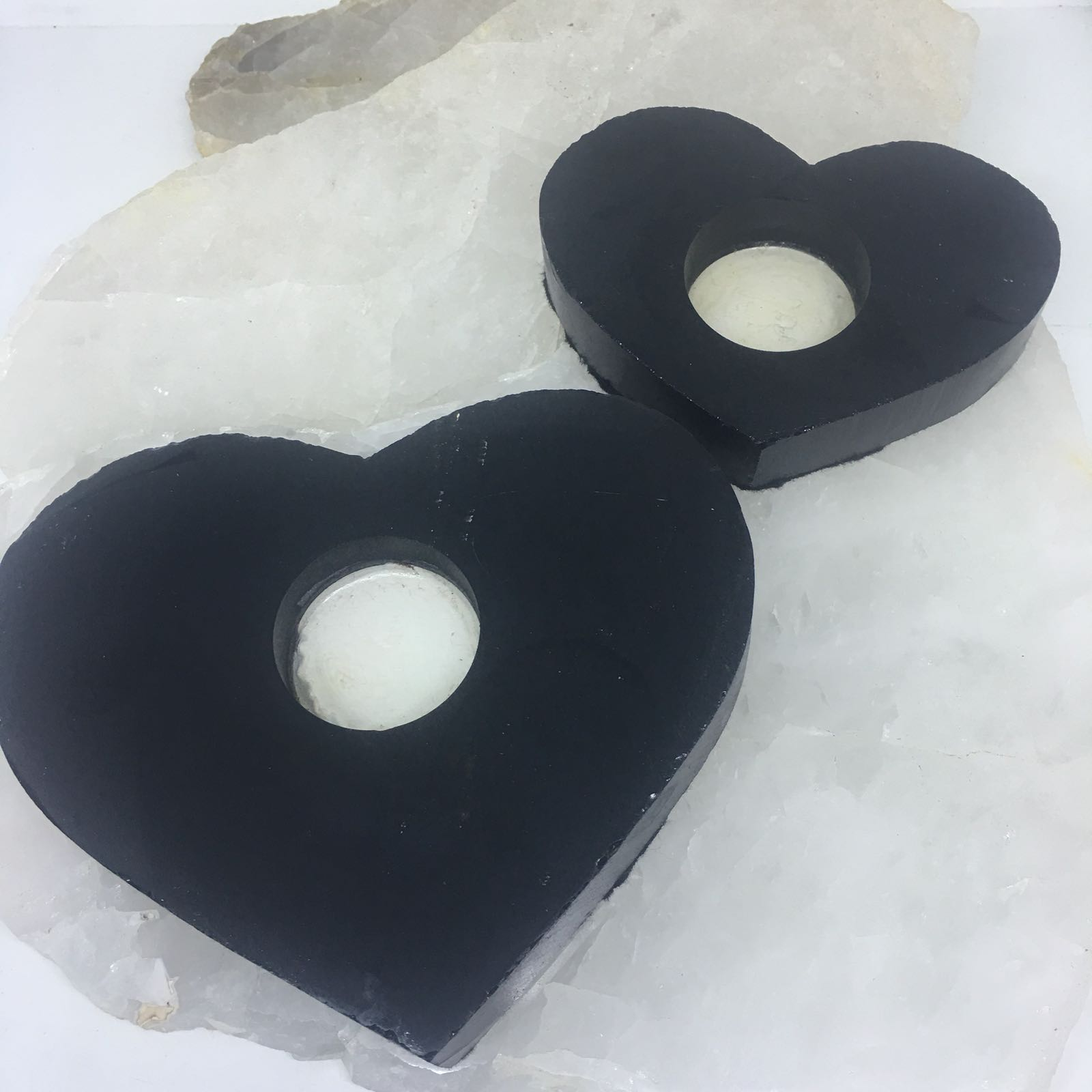 Stones from Uruguay - Black Obsdian Crystal Heart Candle Holder Tealight