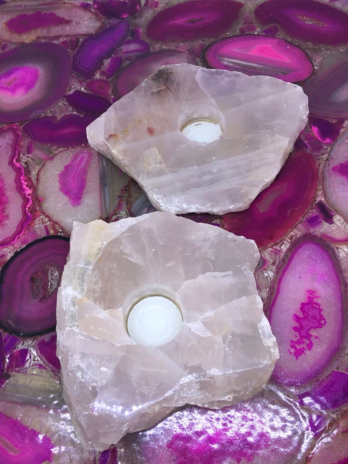 Stones from Uruguay - Rose Quartz Slice Candle Holder