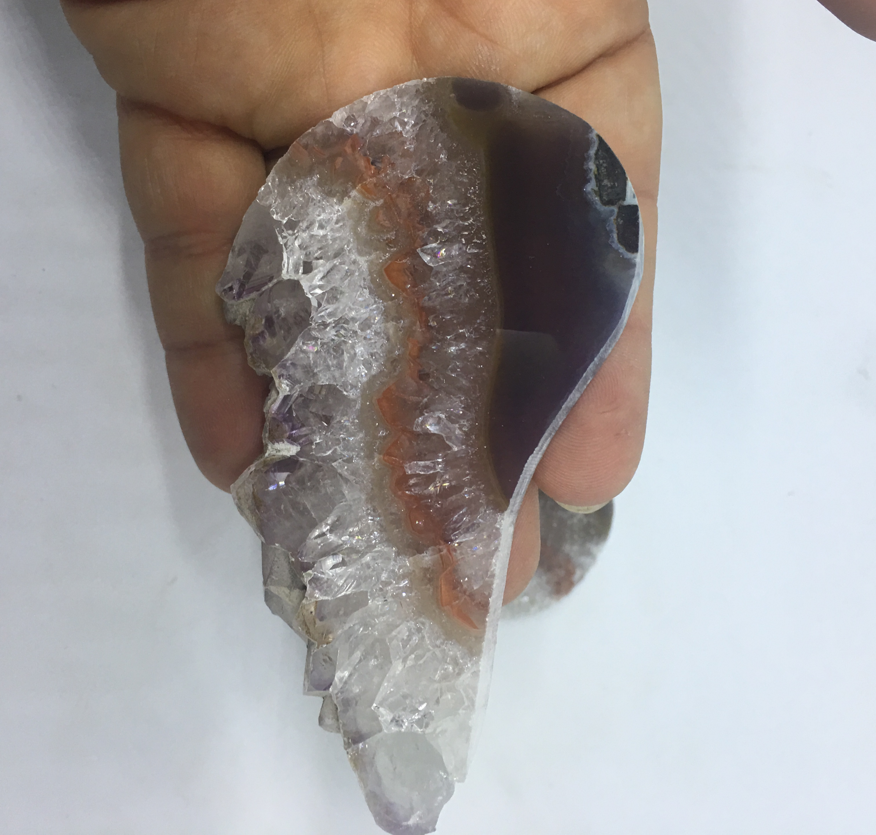 Stones from Uruguay - Amethyts Druzy Wing Slice for Home and Decor