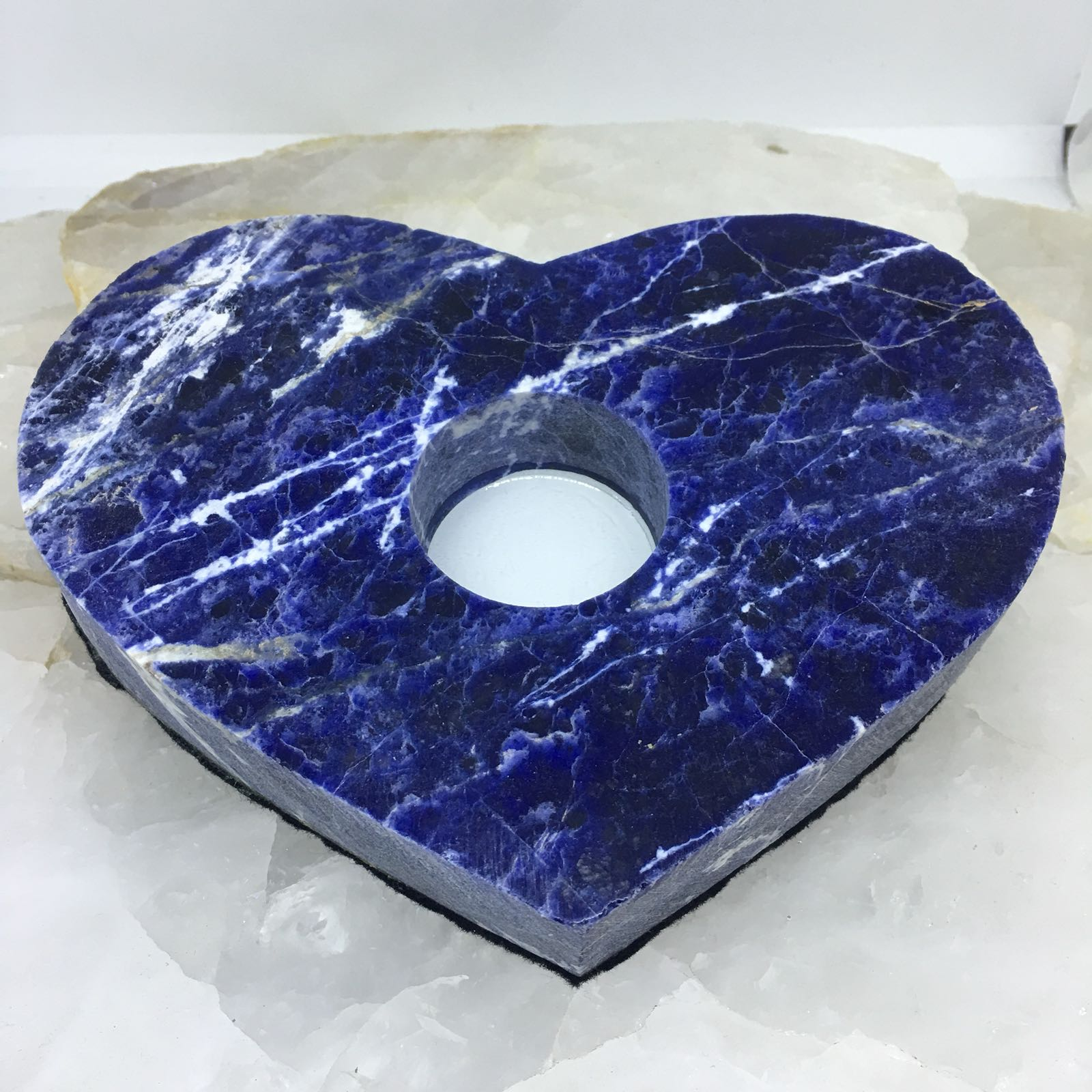 Stones from Uruguay - Sodalite  Heart Candle Holder Tea Light