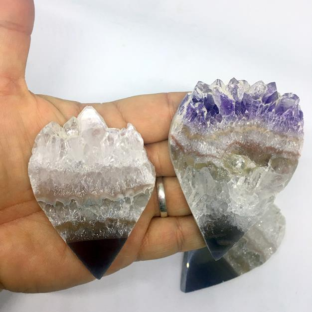 Stones from Uruguay - Extra Large Amethyst Druzy Teardrop Slice for Home and  Metaphysical