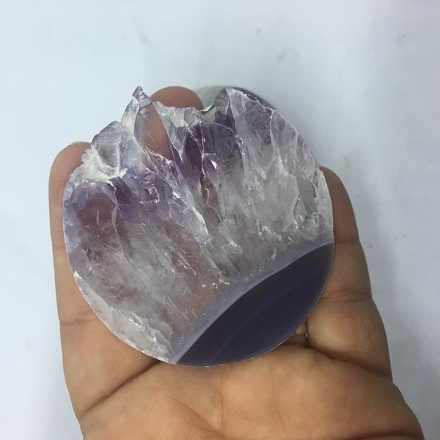 Stones from Uruguay - Extra Large Amethyst Druzy Round Slice for Gift or Home