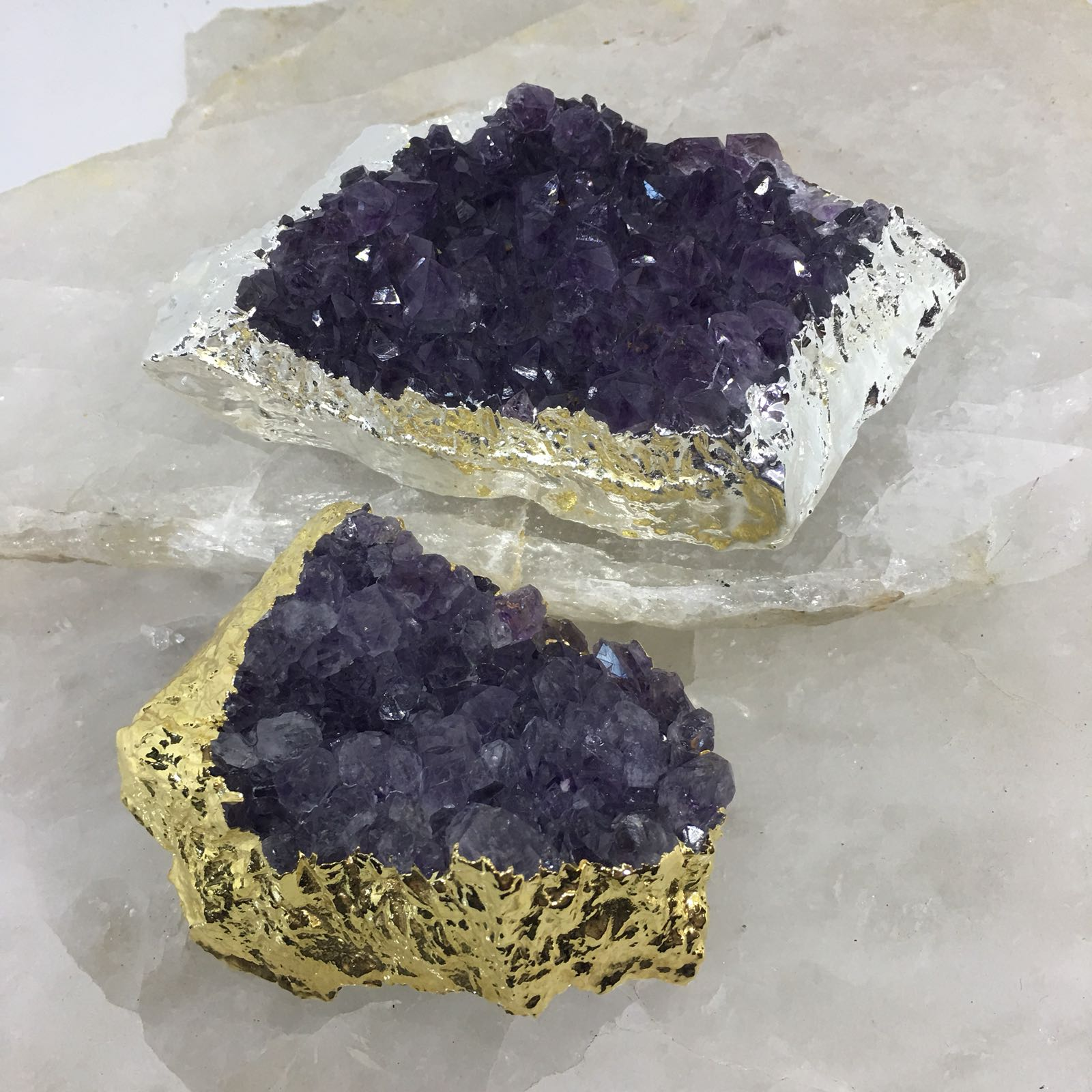 Stones from Uruguay - Plated Amethyst Cluster  for Decor Home & Metaphysical