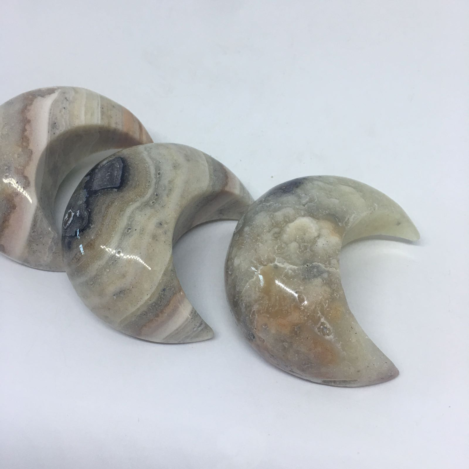 Stones from Uruguay - Cream Jasper Crescent Half Moon for Gift