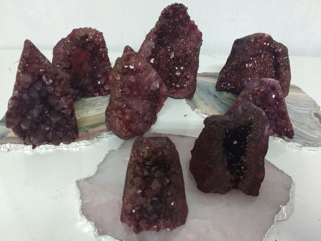 Stones from Uruguay - Blood Red Dyed Amethyst Cut Base
