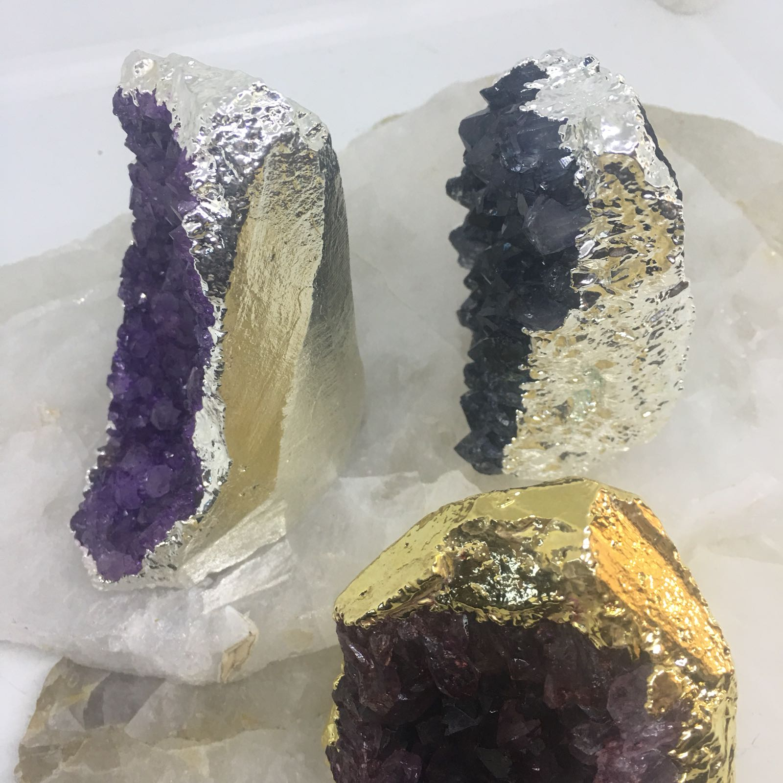 Stones from Uruguay - Dyed Amethyst Cut Base with Electroplating