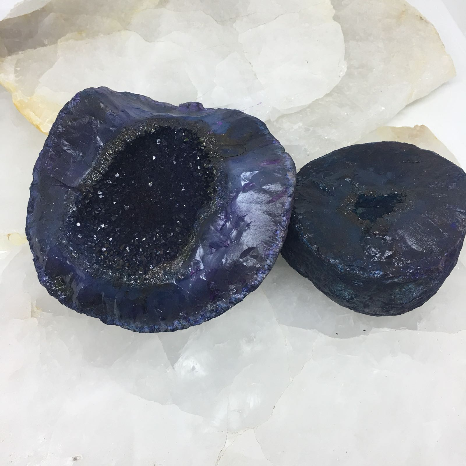 Stones from Uruguay - Teal Dyed Rough Agate Druzy