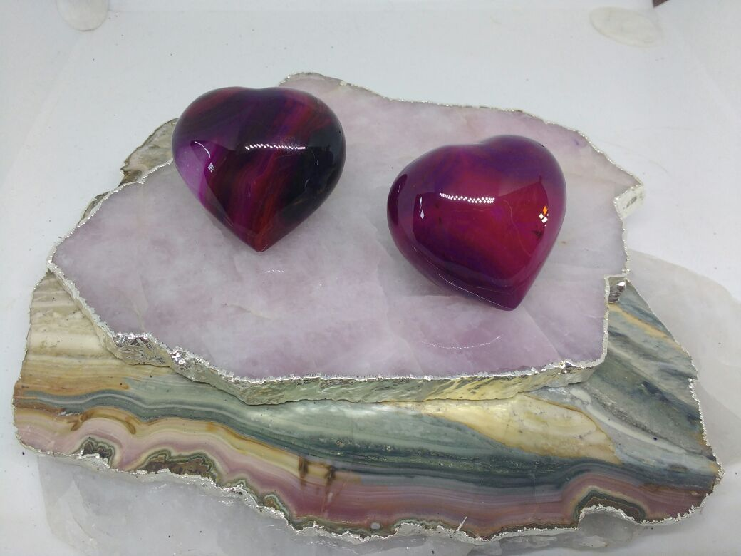 Stones from Uruguay -  Polished Blood Red Dyed Agate Heart