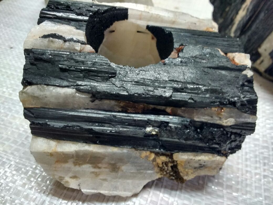 Stones from Uruguay - Black Tourmaline Candle Holder in Quartz Matrix Specimen - Black Tourmaline Crystal Candle Holder on Matrix