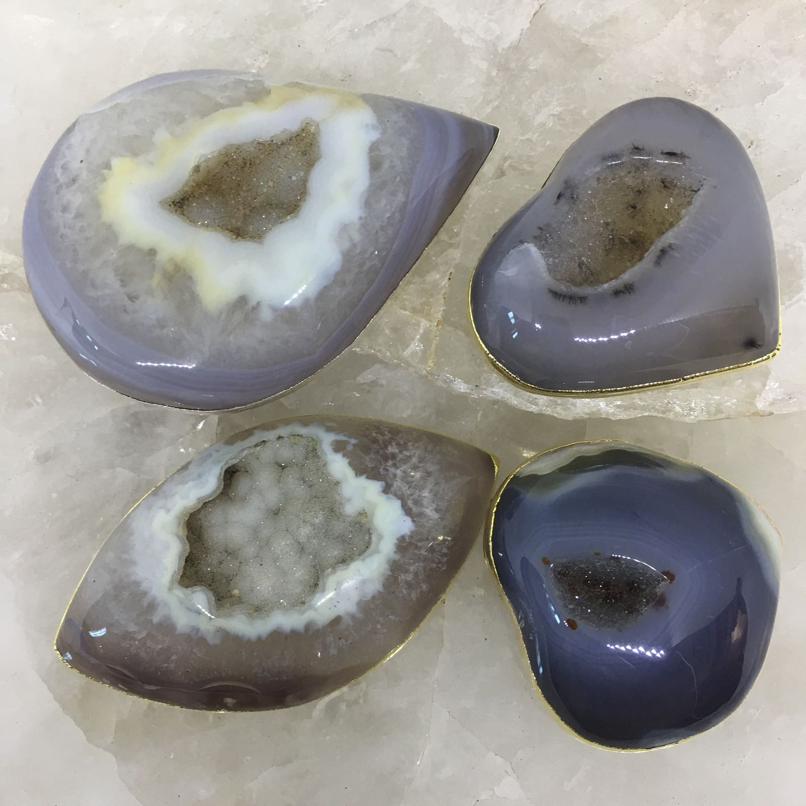 Stones from Uruguay - Plated Agate Geode Druzy  Cabochons for Gift  & Meditation