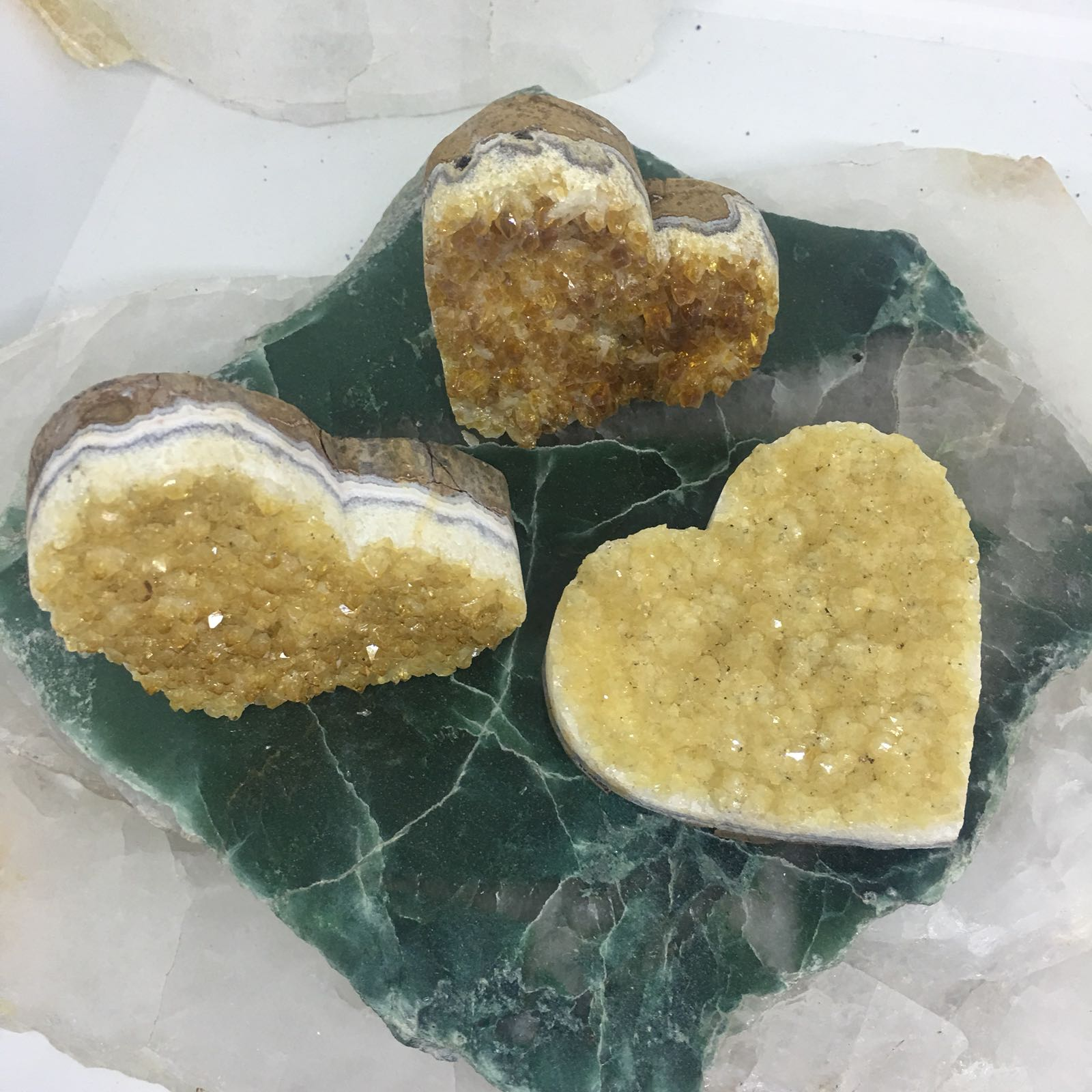 Stones from Uruguay - Citrine Cluster Heart  for  Chakra Stones and Crystals - Citrine Druse Heart for Metaphysical - Heart-Shaped Druzy for Home and Gift