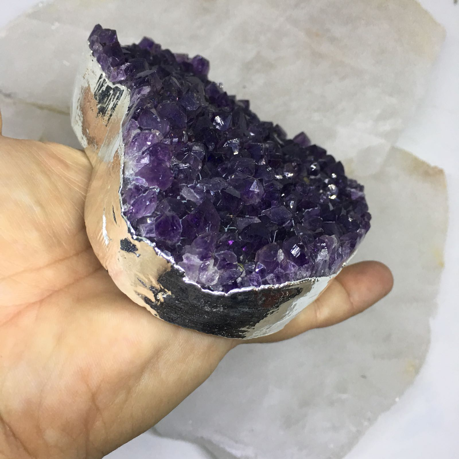 Stones from Uruguay - Silver Plated Purple Amethyst Druzy Heart for Decor & Home