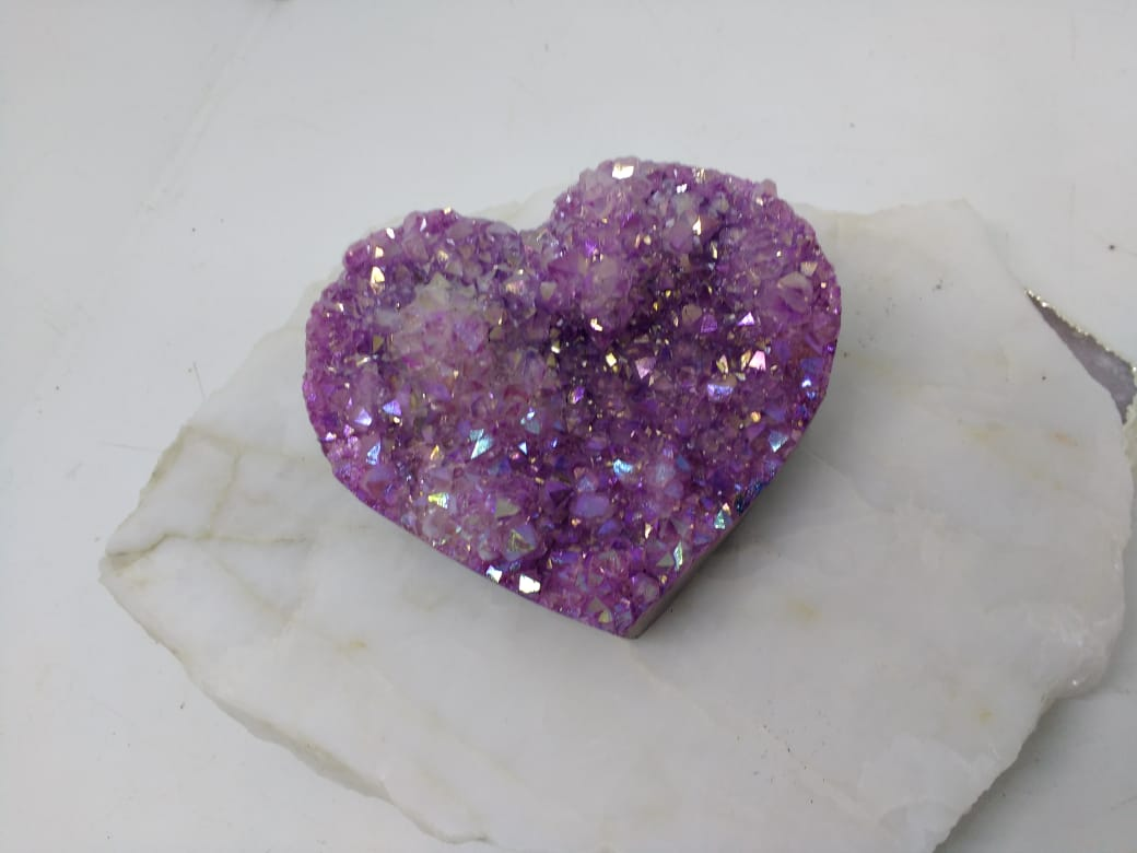 Stones from Uruguay - Pink Dyed Angel Aura Titanium Treated Amethyst Druzy Heart for Spiritual Practices, Crafting & Meditation