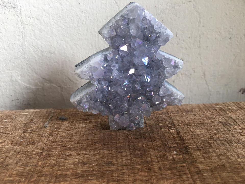 Stones from Uruguay - Angel Aura  Titanium Treated Amethyst Titanium Christmas Tree for Home, Decor or Gift