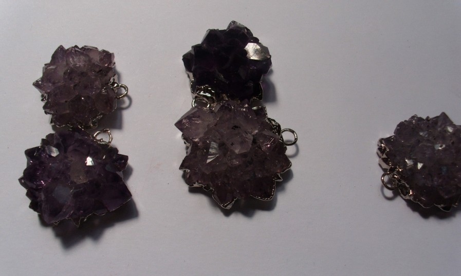 Stones from Uruguay - Amethyst Rose Pendants