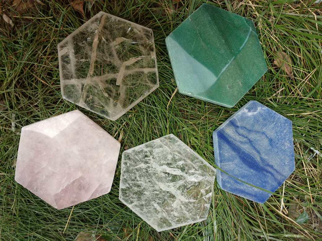 Stones from Uruguay -  Quartz Hexagon Drink Coasters