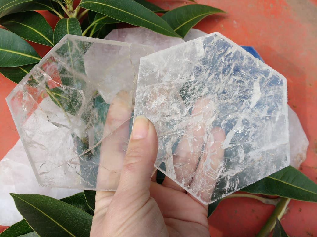 Stones from Uruguay - Clear Quartz Crystal Hexagon  Drink Coasters, 100-120mm