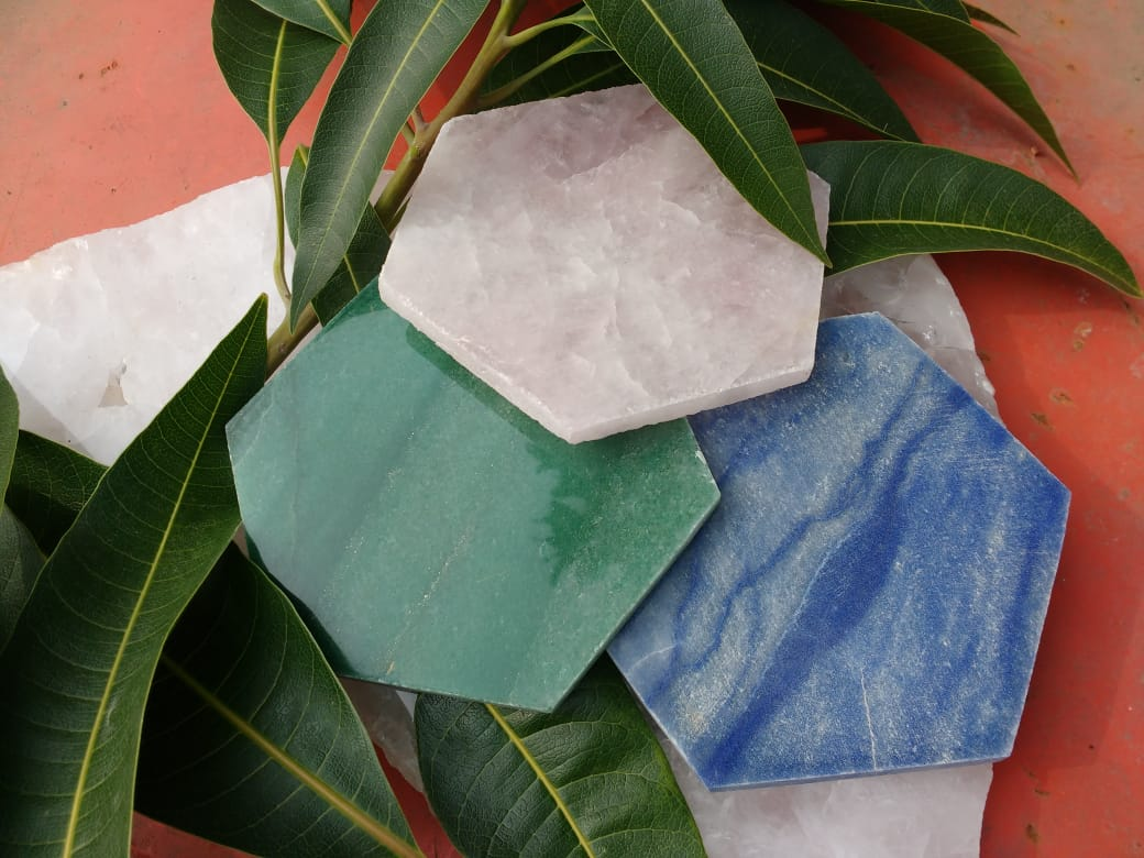 Stones from Uruguay - Blue Quartz Hexagon Drink Coaster -  Rose Quartz Hexagon Drink Coaster - Green Quartz Hexagon Drink Coasters