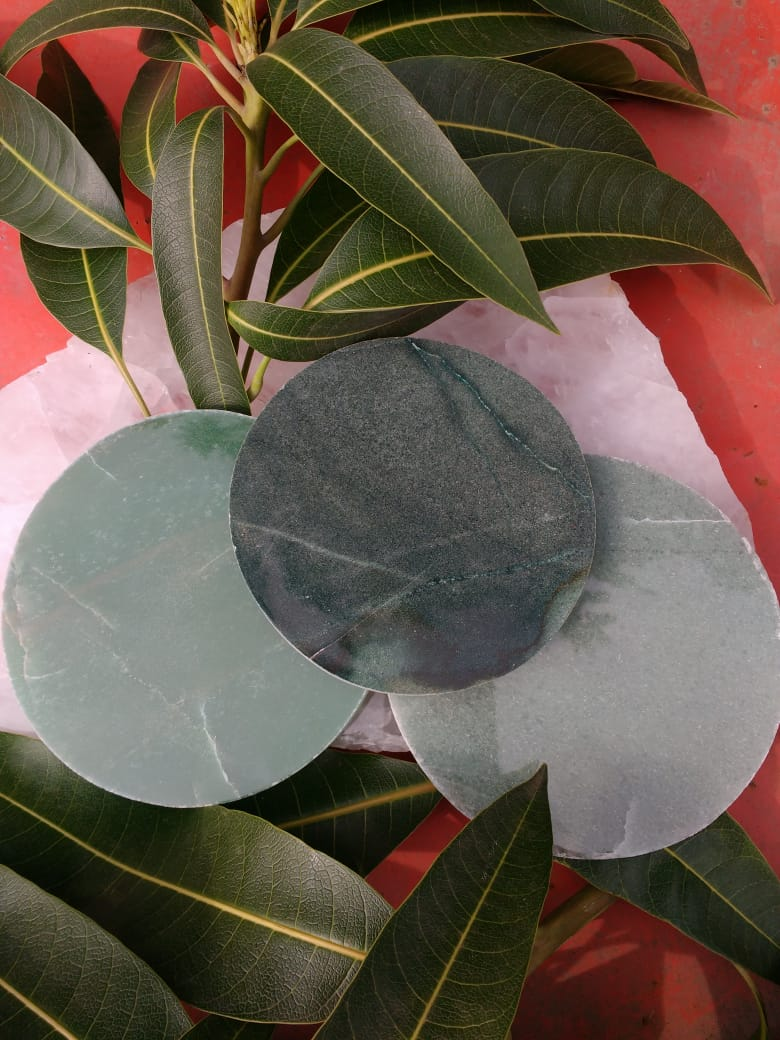 Stones from Uruguay - Green Aventurine Round Drink Coasters - #2 to #4