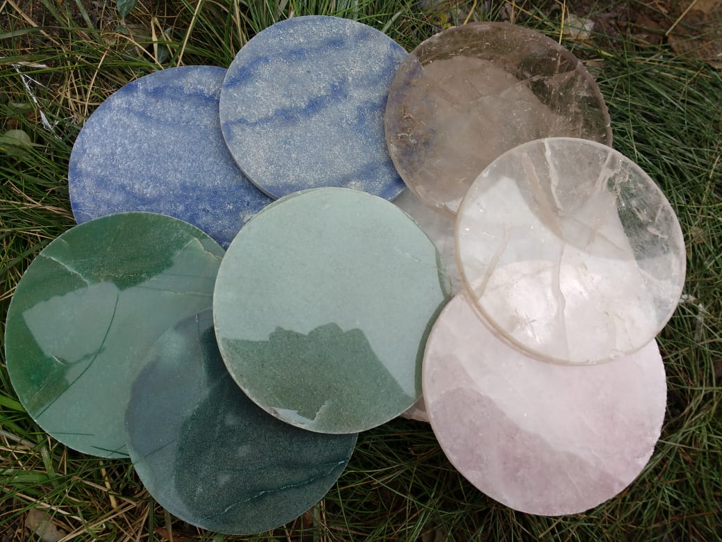 Stones from Uruguay - Quartz Round  Drink  Coasters - Crytsal Quartz Cup Mats Coasters - Rough Edges