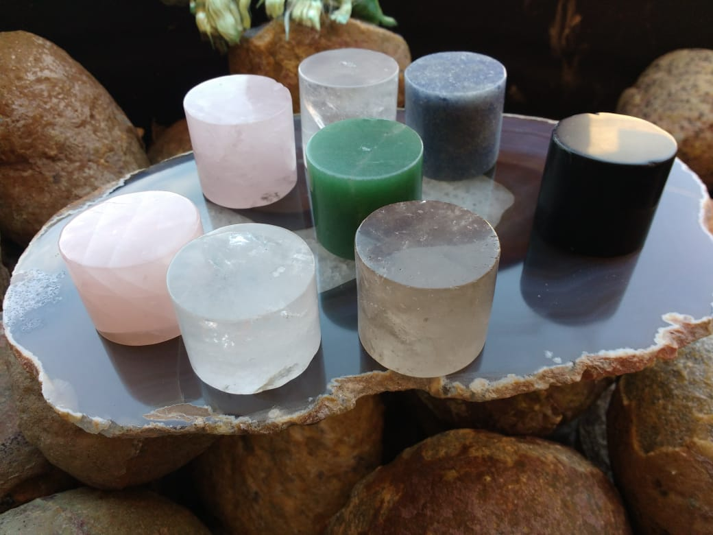 Stones from Uruguay - Green Aventurine Cylinder, Rose Quartz Cylinder, Blue Quartz Cylinder, Smoky Quartz Cylinder, Clear Quartz Cylinder for Home and Decoration